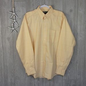 Eddie Bauer Relaxed Fit Shirt Yellow Stripe M